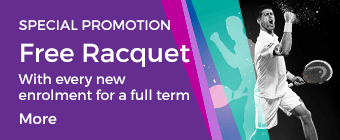 Special Promotion Free Racquet with every new enrolment for a full term 4-13yrs
